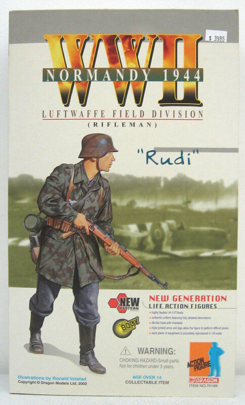 "Dragon Models WWII German Soldier 1/6 scale 12"" Luftwaffe Rifleman Rudi 70189 DWG042"