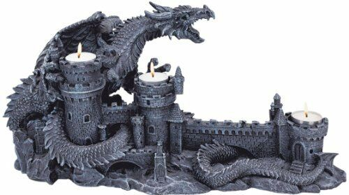 Dragon Shadows Medieval Castle Candlelit Statue. In Home