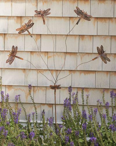 Dragonfly Flutterer Whimsy Copper Finish Metal Garden Stake