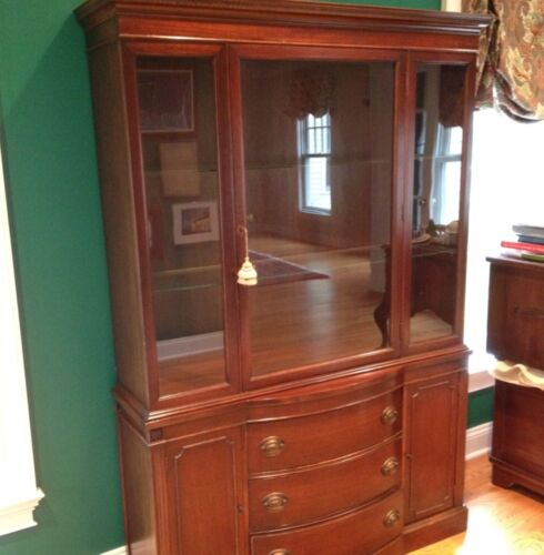 "Drexel ""New Hampton"" Mahogany Bowfront Breakfront China Cabinet in Antiques, Furniture, Cabinets & Cupboards 