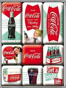 drink coca cola red nostalgie k hlschrank magnet set 9 tlg tin sign mag60 ebay. Black Bedroom Furniture Sets. Home Design Ideas