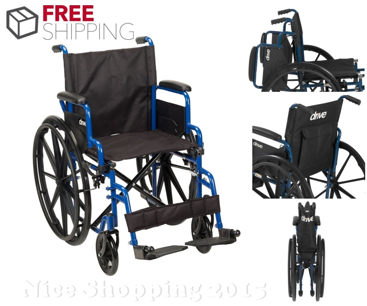 Drive Medical Folding Wheelchair Portable Lightweight Transport Travel Seat Care Ebay