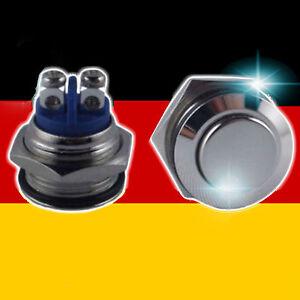 Druck-Taster-Schalter-Knopf-Taste-Metall-Silber-Klingel-KFZ-ELEKTRO-Starter
