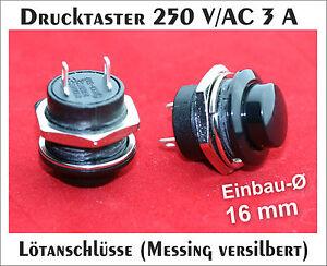 Drucktaster-250-V-AC-3-A-Taster-Klingeltaster-ohne-LED-schwarz-erhaben-Pin