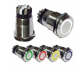 Drucktaster-Klingelknopf-EDELSTAHL-Drucktaster-Huptaste-Klingeltaster-LED