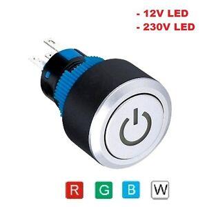 Drucktaster-Knopf-Power-LED-Klingel-Push-Switch-Industrieknopf-Schalter-Klingel