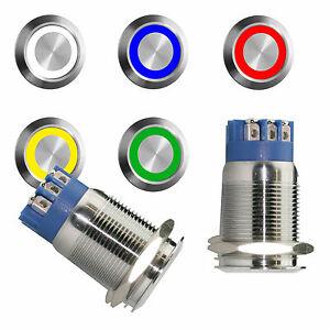 Drucktaster-Taster-6V-9V-12V-230V-Klingeltaster-Klingelknopf-Led-beleuchtet