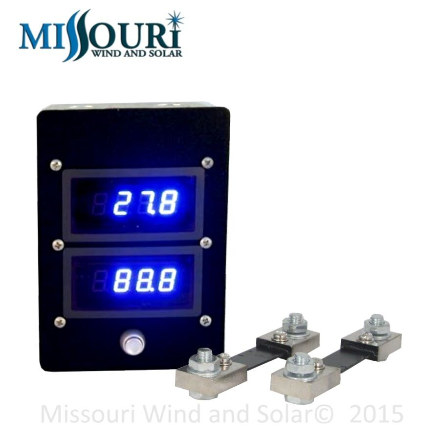 Dual 100 Amp Dc Digital Blue Led Panel Meter Wind Turbine