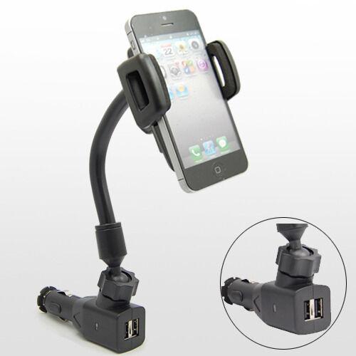 Dual USB Port Car Cigarette Lighter Mount Holder Charger fr iPhone 5 5S 5C Phone