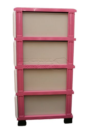 Durable pink plastic storage chest of drawers unit tower