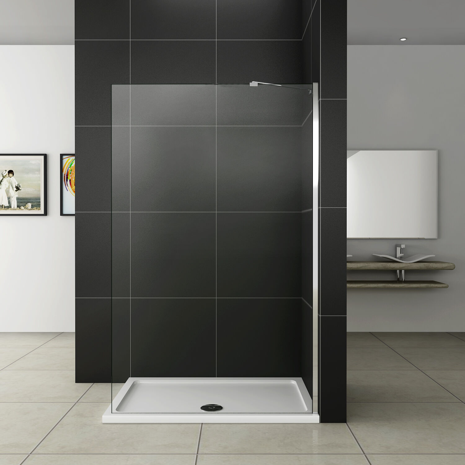 duschabtrennung walk in duschwand dusche 6mm glaswand duschkabine 80x185cm whn80 ebay. Black Bedroom Furniture Sets. Home Design Ideas