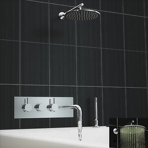 dusche badewanne armatur temperatur regler 3 drehkn pfe duschkopf chrom ebay. Black Bedroom Furniture Sets. Home Design Ideas