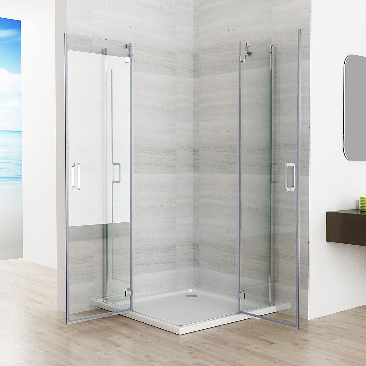duschkabine eckeinstieg duschwand duschabtrennung nano. Black Bedroom Furniture Sets. Home Design Ideas