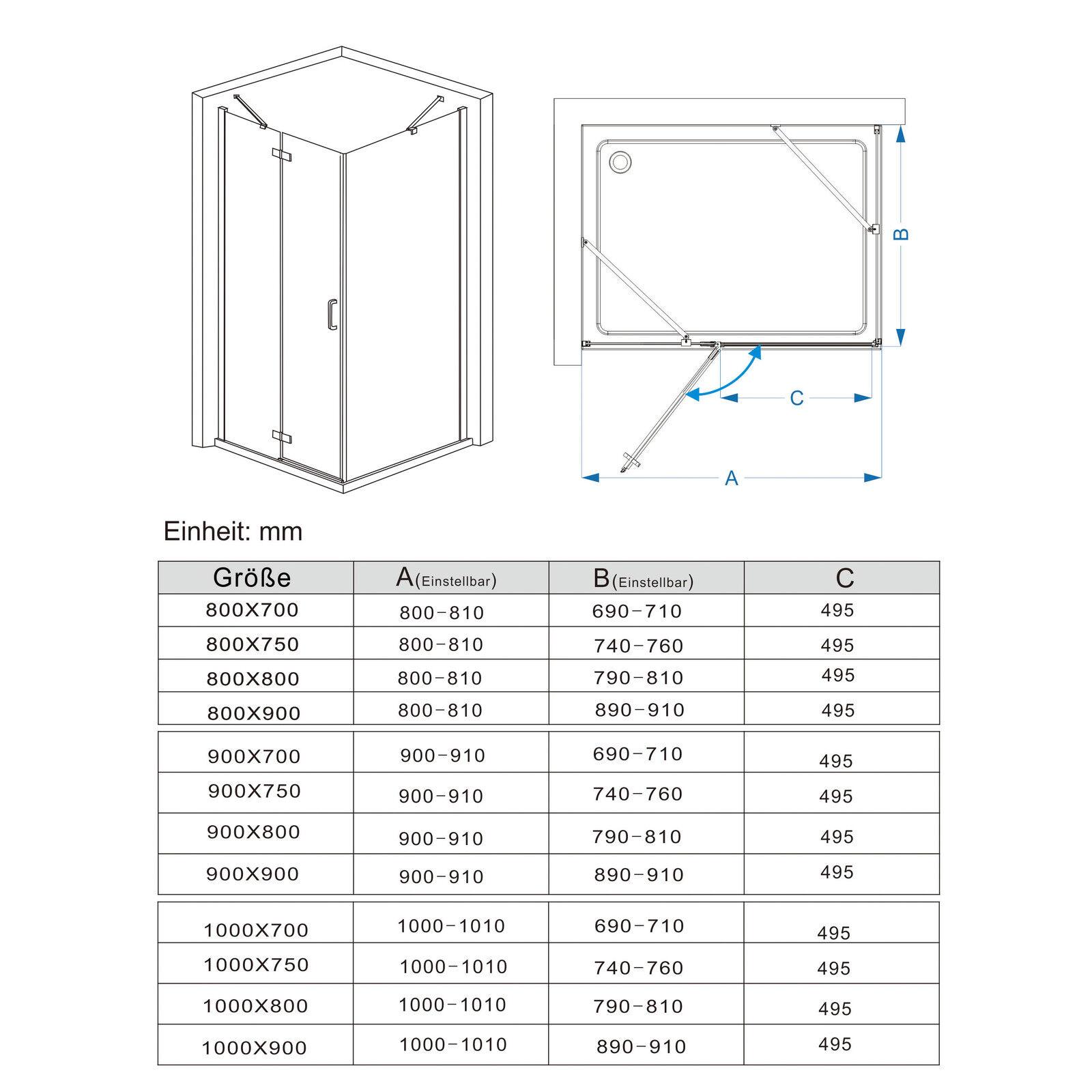 Dusche Eckeinstieg Glas : Duschkabine Eckeinstieg Dusche Faltt?r Duschwand mit Seitenwand 90×90