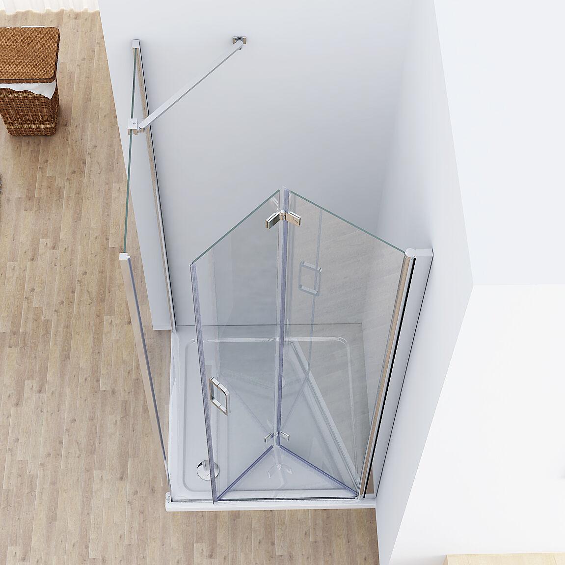 75 x 90 cm duschkabine eckeinstieg dusche faltt r duschwand 90cm seitenwand 195 ebay. Black Bedroom Furniture Sets. Home Design Ideas