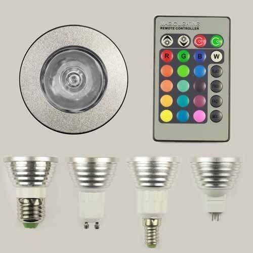 E27 GU10 E14 MR16 RGB LED Light Bulb Remote Controller 16 Colors 5