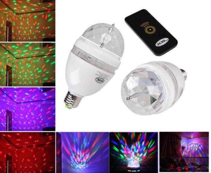 E27 3W G80 G60 Colorful Rotating RGB 3 LED Light Bulb Lamp Stage Disco KTV Party