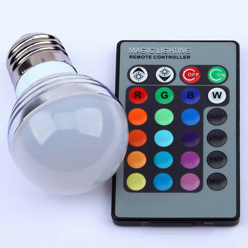 E27 RGB LED Light Bulb Remote Controller Magic Lighting 16 Colors Change