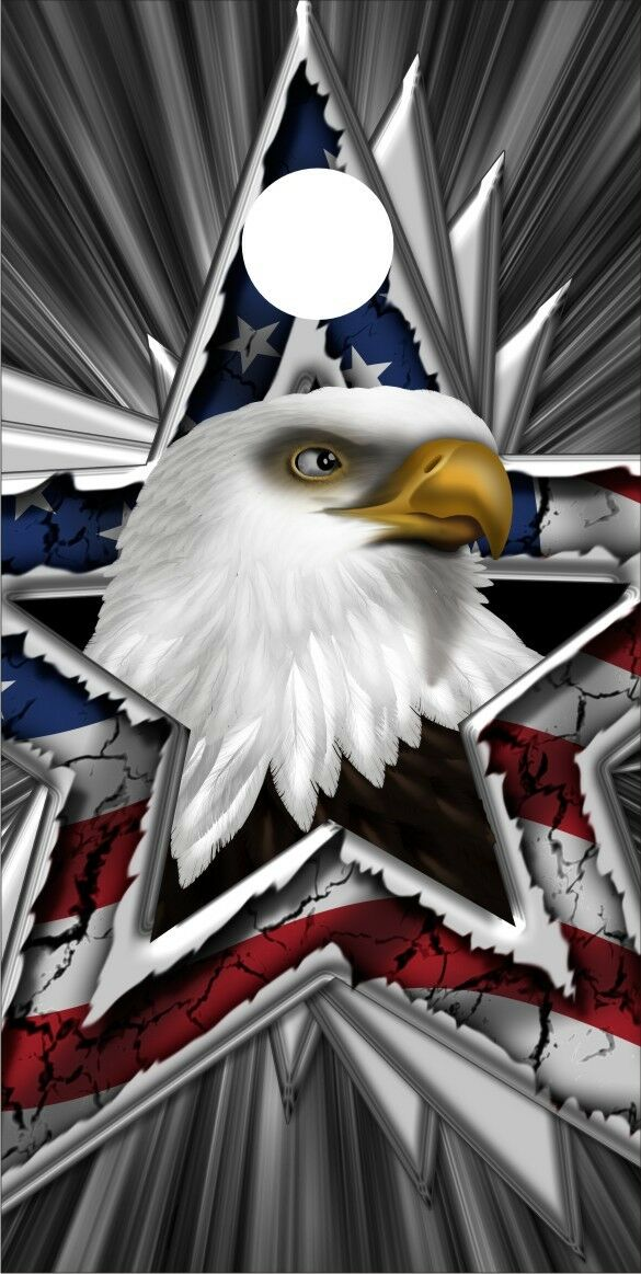 EAGLE & AMERICAN FLAG STAR CORNHOLE Decal 24X48