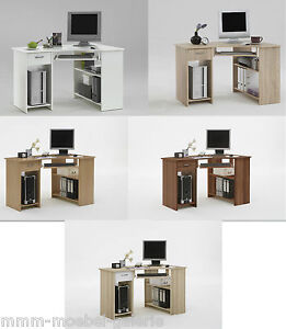 eck schreibtisch computertisch pc laptop tisch buche weiss eiche walnuss ebay. Black Bedroom Furniture Sets. Home Design Ideas