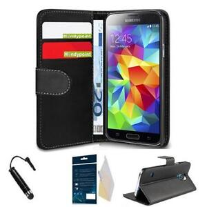 edel klapp leder tasche f r samsung galaxy s5 mini g800f h lle etui folie stift ebay. Black Bedroom Furniture Sets. Home Design Ideas
