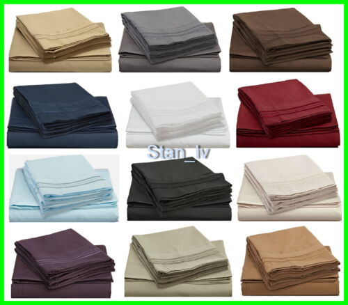 EGYPTIAN COMFORT DELUXE 1500 THREAD COUNT DEEP POCKET BED SHEET SET 4 PIECES in Home & Garden, Bedding, Sheets & Pillowcases | eBay