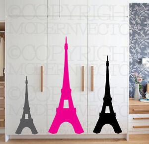 Eiffel Tower Paris Theme Vinyl Wall Decal Designs Decor Girls Bedroom
