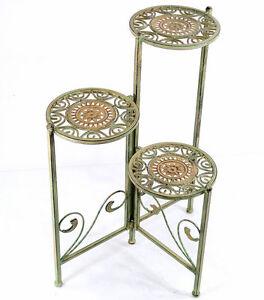 eisen klappregal antik gr n etagere 3 stufig blumentreppe blumen st nder regal ebay. Black Bedroom Furniture Sets. Home Design Ideas