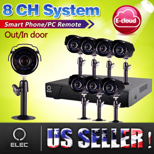 ELEC® 8 ch channel CCTV Security DVR 8 outdoor indoor night vision camera system in Consumer Electronics, Home Surveillance, Digital Video Recorders, Cards | eBay
