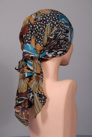 ELEGANCE Festive Brown SCARF Chemo Cancer Hat Turban FREE SHIPPING! EBES85 in Health & Beauty, Other | eBay