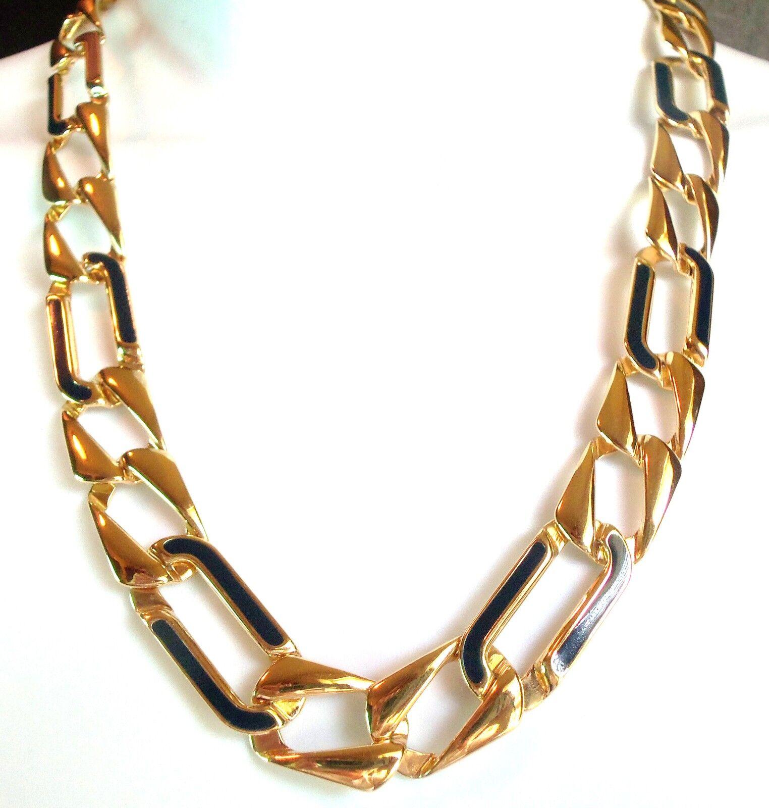 Elegant Vintage Monet Gold Plated Amp Black Chain Necklace