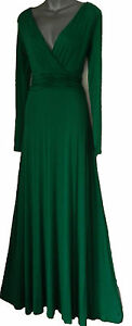 Black Maxi Dress on Emerald Green Long Sleeved Maxi Evening   Party Dress Size 8 10 12 14