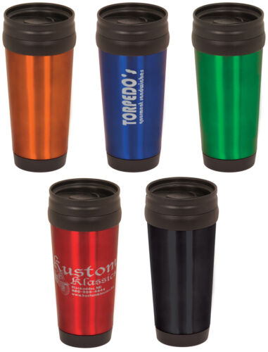ENGRAVED Stainless Steel Travel Mug PERSONALIZED black blue red green orange in Travel, Travel Accessories, Other | eBay