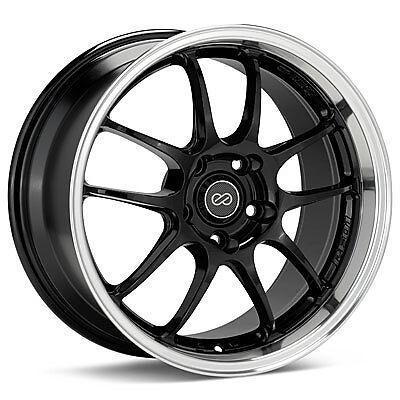 "Enkei PF01SS 17x8"" Racing Wheel Wheels 5x114 3 ET50 Gloss Black Machined Lip"