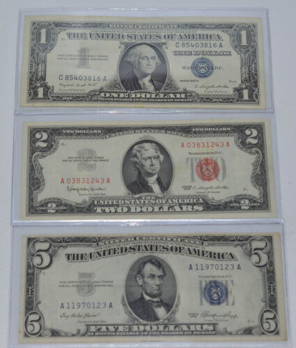 ESTATE - $1 $2 $5 SILVER CERT & NOTES 1957 $1 BLUE 1963 $2 RED 1953 $5 BLUE SEAL in Coins & Paper Money, Paper Money: US, Small Size Notes | eBay