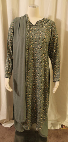 EUC 3 PC SET MOSS GREEN BLACK PRINTED BUBBLE DROPS SALWAR KURTA WRINKLE FREE MED in Clothing, Shoes & Accessories, Cultural & Ethnic Clothing, India & Pakistan | eBay