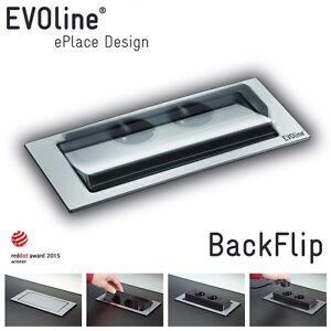 evoline backflip drehb steckdose 2 fach edelstahl inkl usb k che schreibtisch ebay. Black Bedroom Furniture Sets. Home Design Ideas