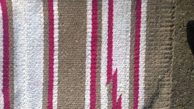 Excellent Handwoven Rya Mexican Area Rug Indian Vintage