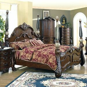 EXTRAORDINARY MARBLE ADORNED KING 4 POSTER BED BEDROOM FURNITURE