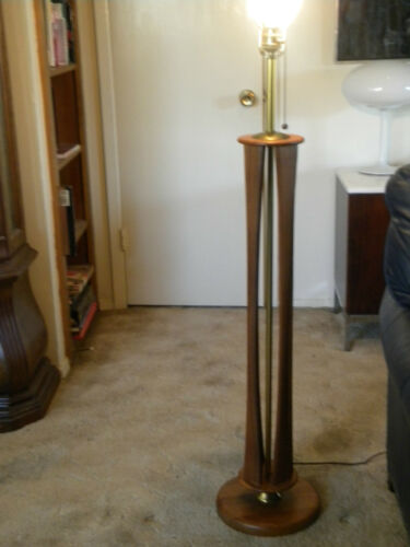 Eames Era Solid Walnut and Brass Mid-Century Modern Floor Lamp (Base Only) in Antiques, Furniture, Tables | eBay