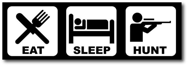 Eat Sleep Hunt Funny Bumper Sticker Decal JDM Civic CRX