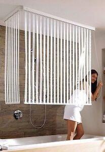 eck duschrollo kleine wolke wei gestreift badewannen rollo spritzschutz ebay. Black Bedroom Furniture Sets. Home Design Ideas
