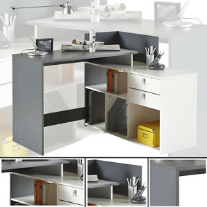 eck schreibtisch weiss grau schreibtisch computertisch eckschreibtisch pc tisch ebay. Black Bedroom Furniture Sets. Home Design Ideas