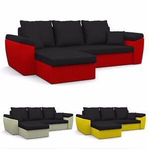 ecksofa dallas mit schlaffunktion eckcouch mit bettkasten ebay. Black Bedroom Furniture Sets. Home Design Ideas
