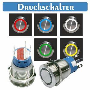 Edelstahl-Druckschalter-Schalter-Lichtschalter-Switch-beleuchteter-Schalter-LED