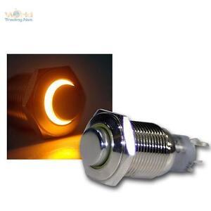 Edelstahl-Drucktaster-Taster-Klingeltaster-Klingelknopf-LED-beleuchtet-gelb