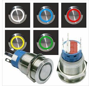 Edelstahl-Drucktaster-Taster-Klingeltaster-Klingelknopf-Led-beleuchtet-19mm