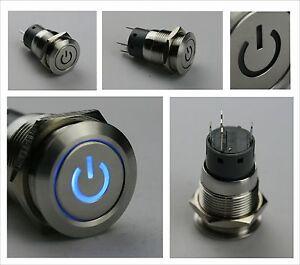 Edelstahl-Drucktaster-Taster-Klingeltaster-Klingelknopf-beleuchtet-Power-symb