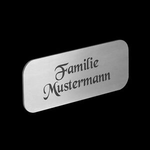 edelstahl namensschild briefkasten schild klingelschild briefkastenschild 221g ebay. Black Bedroom Furniture Sets. Home Design Ideas