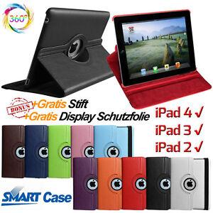 Edles-360-Drehbar-Leder-Case-Schutz-Huelle-Etui-Tasche-Smart-Cover-fuer-iPad-4-3-2